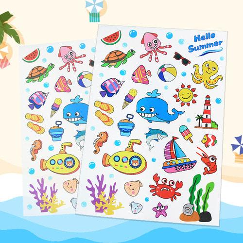 바다스티커,투명스티커,스티커,바다생물,여름,여름만들기,꾸미기재료,만들기재료,물고기,문어,고래,투명바다스티커