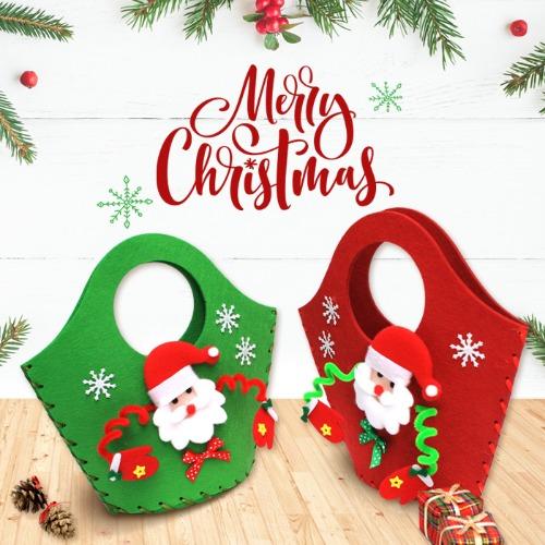 크리스마스만들기,크리스마스가방,부직포가방,바느질로만드는가방,바느질가방,어린이가방,가방만들기