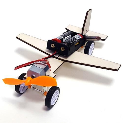 나무 DIY 조립 전기 동작 풍력 비행기(1세트,건전지별매)