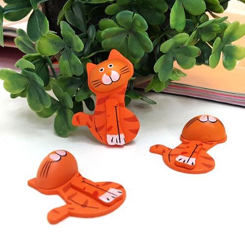고양이 나무비즈 주황 (6개 1세트)