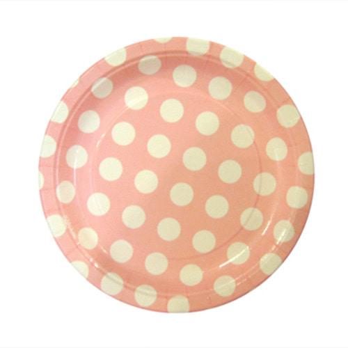 페이퍼 도트접시(핑크 6개입)