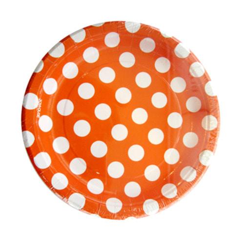 페이퍼 도트접시(오렌지 6개입)