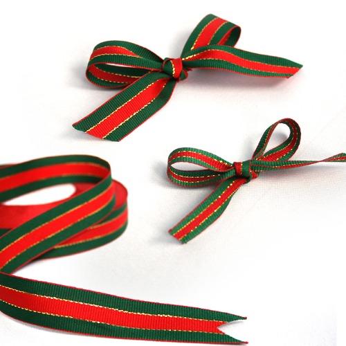 빨강초록 크리스마스 리본 (대소 택1)